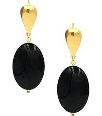 art deco minimalistyczne złote kolczyki z onyksem