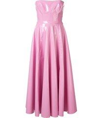 alex perry powell vinyl-effect dress - pink