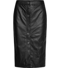leather skirt w/ snaps knälång kjol svart karl lagerfeld