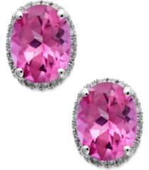 14k white gold pink topaz (4 ct. t.w.) and diamond (1/6 ct. t.w.) stud earrings