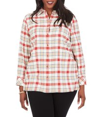 plus size women's foxcroft journey brushed plaid shirt, size 22w - burgundy