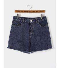 navy side pockets high-waisted denim shorts