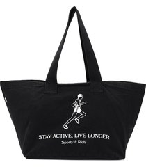 sporty & rich active logo tote bag - black