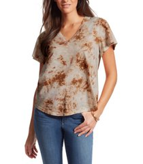 jessica simpson carly tie-dyed flutter-sleeve tee