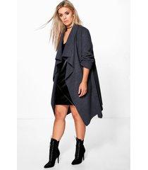 plus wool look wrap front coat, charcoal