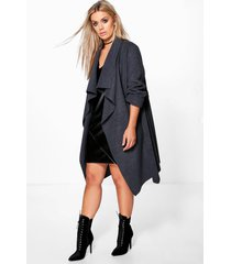 plus wool look wrap front coat, charcoal