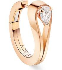 'serti inversé' diamond rose gold earrings