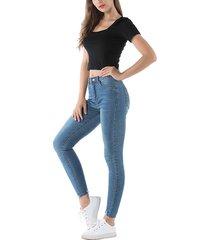 detalles rasgados al azar denim de cintura alta jeans