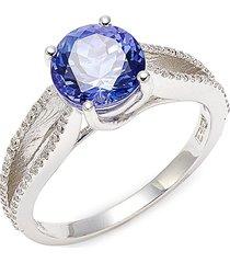 effy women's tanzanite royalé 14k white gold & diamond ring - size 7