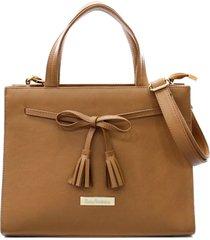 bolsa maria verônica quadrada laço couro marrom