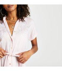 river island womens pink floral cutwork shirt beach dress