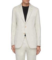 single breast cotton blend blazer
