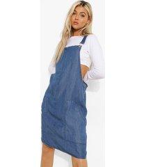tall chambray tuinbroek jurk, mid blue