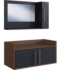 conjunto de balcão e espelheira p/ banheiro baldo preto/nogueira estilare móveis