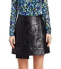 patchwork leather wrap skirt