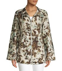 lafayette 148 new york women's baylor palm print tech cloth coat - cloud multi - size s
