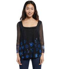camiseta negro-azul desigual