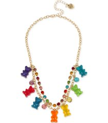 "betsey johnson gold-tone crystal, fireball & gummy bear statement necklace, 16"" + 3"" extender"