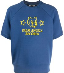 palm angels logo print short sleeve sweatshirt - blue