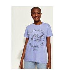 t-shirt feminina mindset obvious signos peixes manga curta decote redondo azul