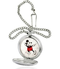 ewatchfactory men's disney mickey mouse silver chain pocket watch 51mm