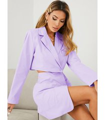 yoins diseño de botones dos bolsillos grandes cuello de solapa manga larga conjunto de falda y top