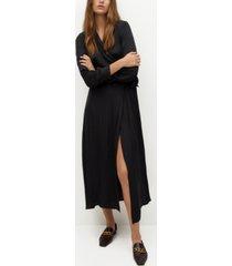 mango women's wrap flowy dress
