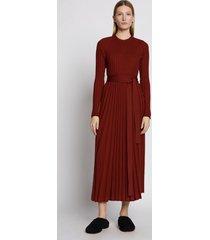 proenza schouler silk cashmere pleated dress rust/red m