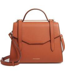 strathberry midi allegro calfskin leather satchel - brown