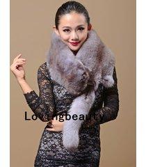 genuine whole fox fur scarf /cape/ collar / wrap grey shawl stole 100-130 cm