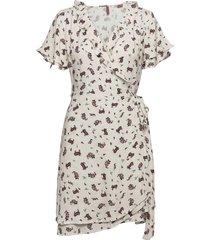 summer wrap dress knälång klänning vit superdry