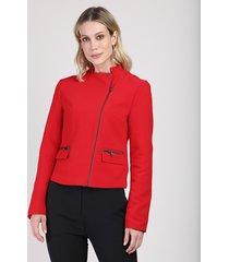 jaqueta feminina com bolsos vermelha