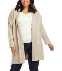 plus size women's karen kane long cardigan, size 0x - ivory