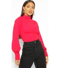 crepe high neck oversized sleeve top, red