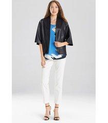 natori faux leather cropped kimono coat, women's, size xl