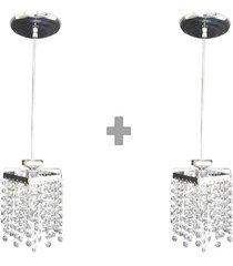 kit 2 lustres pendentes de cristal legítimo k9 lina design ac66