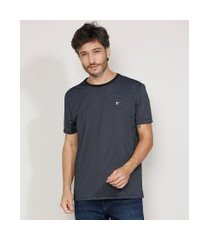 camiseta masculina manga curta maquinetada gola careca azul marinho