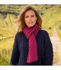 raspberry marl cozy aran scarf