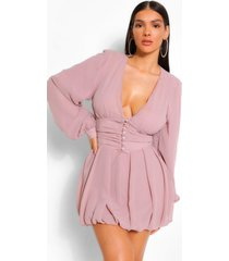 chiffon plunge button detail skater dress, mauve