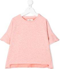 andorine oversized flared trim t-shirt - pink