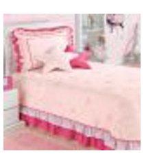 jogo cobre leito solteiro feminino juvenil bordado bailarina rosa claro 4 peças