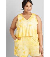 lane bryant women's livi sleeveless tie-dye romper 38/40 artisan's gold