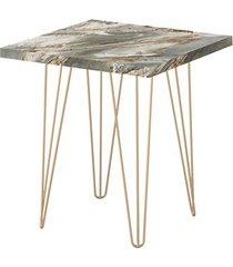 mesa lateral quadrada 47,5 petra pé de ferro dourado-líder design