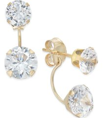 cubic zirconia peekaboo front and back earrings in 10k gold