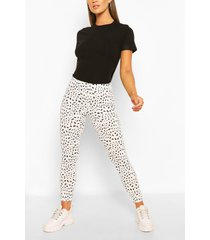 dalmatian print rib legging, white