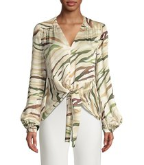 elie tahari women's kali tiger-print tie front blouse - tuscan multi - size xs