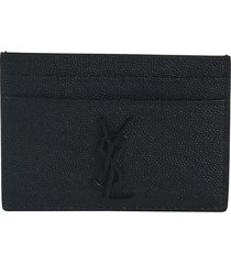 saint laurent logo plaque grained card holder
