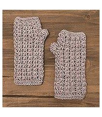 100% alpaca fingerless gloves, 'pale mauve dream' (peru)