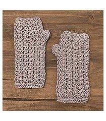 100% alpaca fingerless gloves, 'pale mauve dream' (peru)