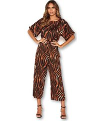 ax paris women's tiger print belted culotte jumpsuit
